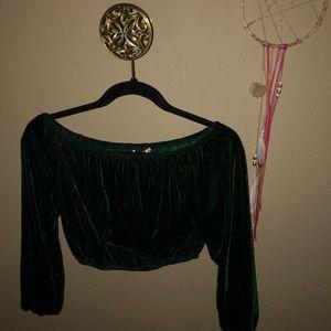 The Hanger Tops - Off the shoulder deep velvet green top